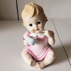 Lefton Piano Baby Girl Porcelain Figurine Vintage